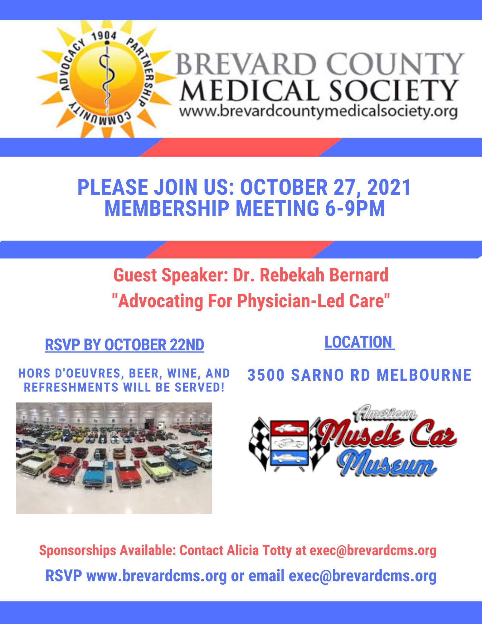 Brevard County Medical Society Meembership Meeting 2021 Muscle Car Museum